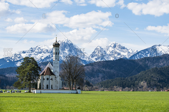 Germany- Bavaria- Schwangau- scenic mountainous landscape with church