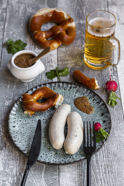 White sausage breakfast with pretzels- mustard and beer