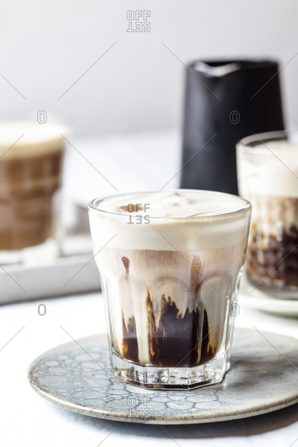 Iced espresso with cold frothed milk