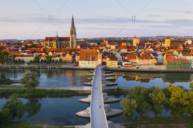 Aerial view of Stone Bridge over Danube River in Regensburg- Bavaria- Germany