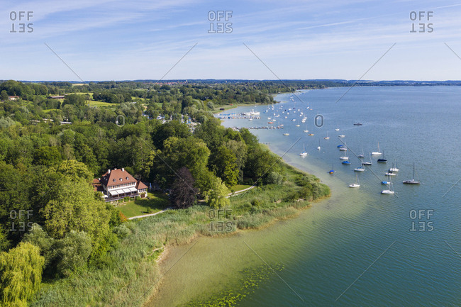 High angle view of Old Mansion restaurant by Lake Ammersee- Bavaria- Germany