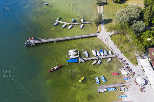 Aerial view of jetty at Utting- Bavaria- Germany