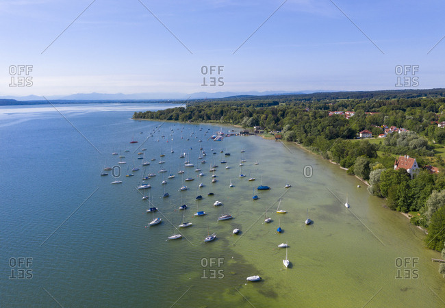 Aerial view of sailboats in Lake Ammersee at Utting- Bavaria- Germany