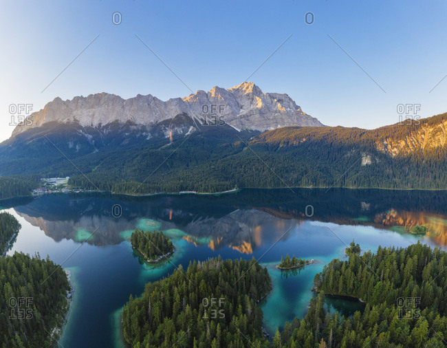 Scenic view of Wetterstein and Zugspitze against clear sky- Grainau- Werdenfelser Land- Upper Bavaria- Bavaria- Germany