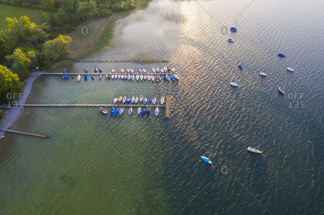 Aerial view of jetty at Gmund- Tegernsee- Upper Bavaria- Bavaria- Germany