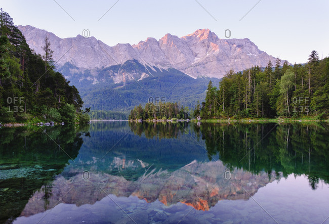 Scenic view of Eibsee lake with Wetterstein and Zugspitze in background- Werdenfelser Land- Upper Bavaria- Bavaria- Germany