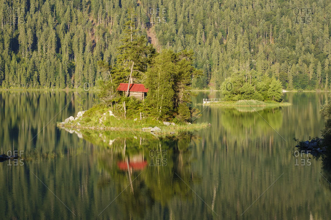 Idyllic shot of Eibsee lake- Werdenfelser Land- Upper Bavaria- Bavaria- Germany