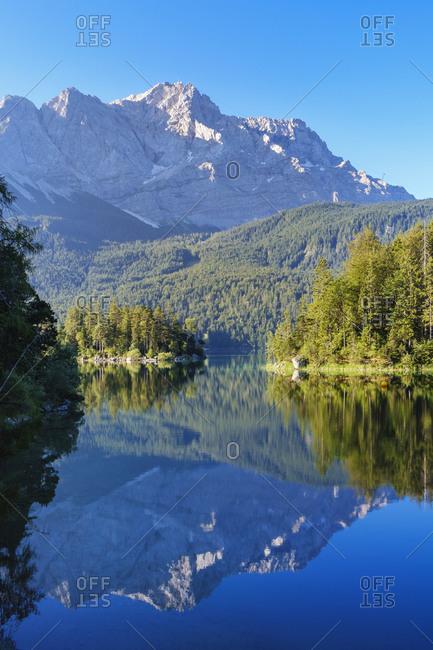 Scenic view of Eibsee with Zugspitze- at Grainau- Werdenfelser Land- Upper Bavaria- Bavaria- Germany