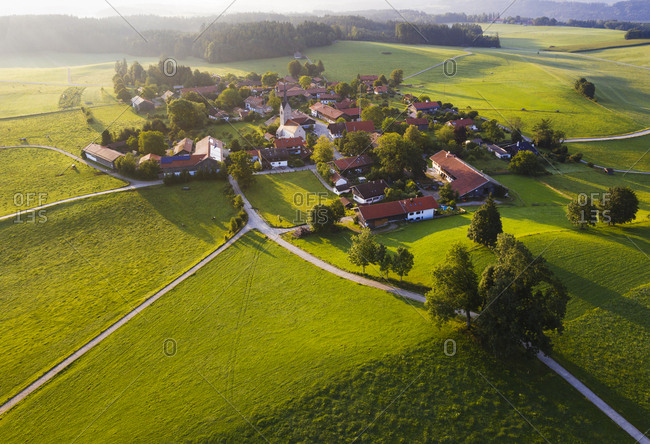 Aerial view of landscape at Peretshofen near Dietramszell in morning- Tyler Land- Upper Bavaria- Bavaria- Germany