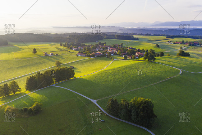 Peretshofen near Dietramszell in the morning light- Tyler Land- aerial view- Upper Bavaria- Bavaria- Germany