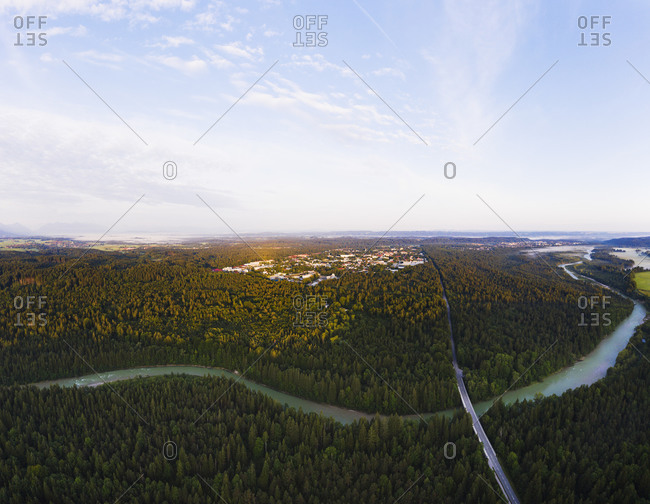 View of Geretsried and Isar River with Tattenkofen bridge- Nature Reserve Isarauen- Upper Bavaria- Bavaria- Germany