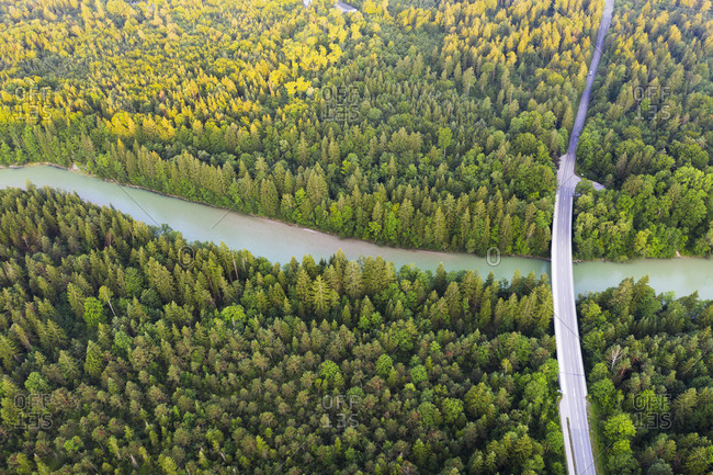 Aerial view of Tattenkofen bridge over Isar River near Geretsried- Nature Reserve Isarauen- Upper Bavaria- Bavaria- Germany