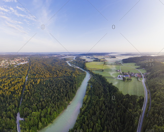 Aerial view of Geretsried and Isar River- Nature Reserve Isarauen- Tyler Land- Upper Bavaria- Bavaria- Germany
