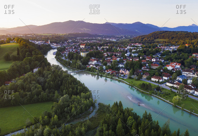 Aerial view of Isarstausee Tˆlz during sunrise at Bad Tˆlz- Isarwinkel- Upper Bavaria- Bavaria- Germany