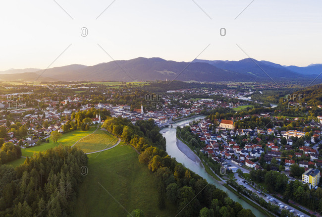 Aerial view of Calvary hill and Isar river against sky- Isarwinkel- Upper Bavaria- Bavaria- Germany