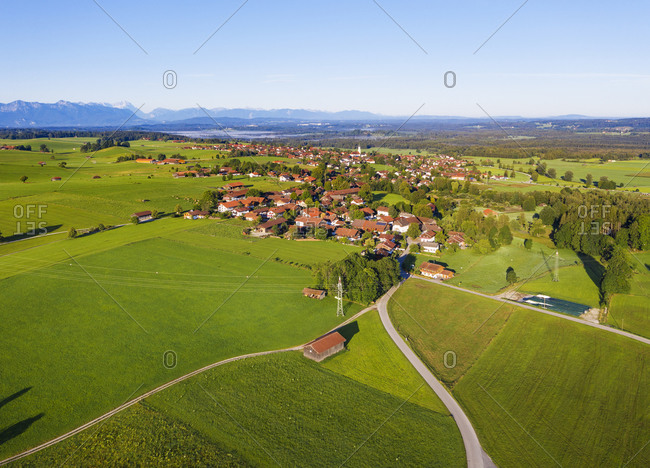 Aerial view of landscape at Kˆnigsdorf with Alpine Chain in background- Tyler Land- Upper Bavaria- Bavaria- Germany