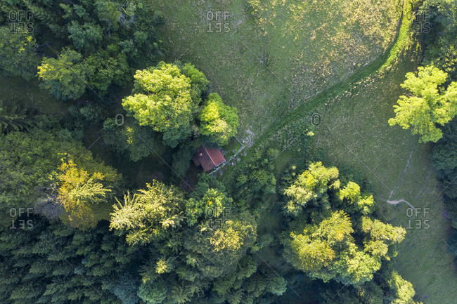 Aerial view of mountain hut on Sonntraten at Gaissach- Isarwinkel- Upper Bavaria- Bavaria- Germany