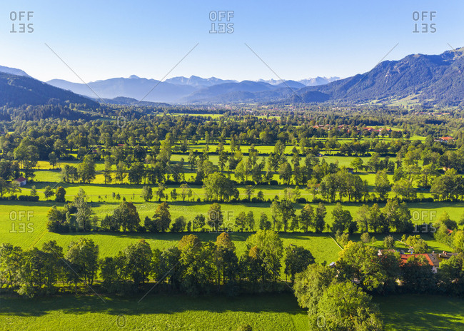 Scenic view of Natural monument hedge landscape at Gaissach- Lenggries- Isarwinkel- Upper Bavaria- Bavaria- Germany