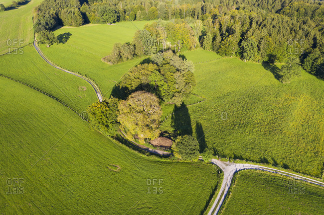 Germany- Upper Bavaria- Icking- Aerial view of green rolling landscape