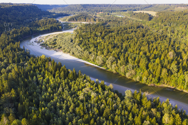 Germany- Bavaria- Schftlarn- aerial view of Isar river