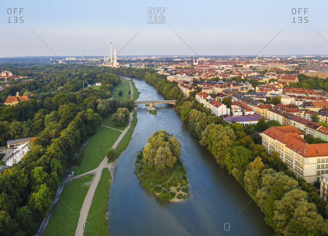 Germany- Upper Bavaria- Munich- Aerial view of Isar river and surrounding city buildings