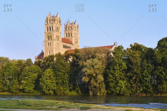 Germany- Bavaria- Upper Bavaria- Munich cityscape with St Maximilian Church over Isar river