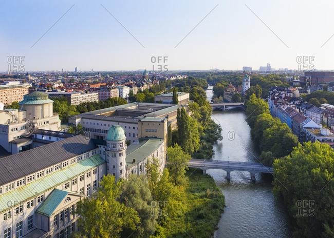 Germany- Bavaria- Upper Bavaria- Munich cityscape with Deutsches Museum- Mullersches Volksbad- Ludwig bridge on Isar river