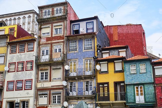 September 16, 2019: Portugal- Porto- Colorful houses in Ribeira Square