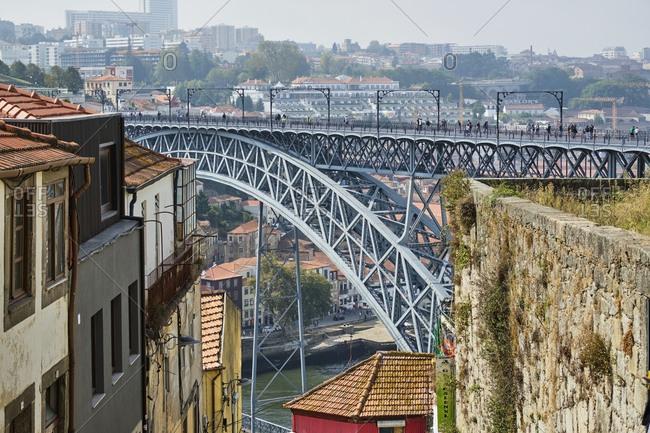 September 17, 2019: Portugal- Porto- Douro- Dom Luis I bridge seen during day