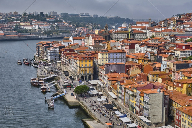 December 12, 2019: Portugal- Porto- Douro river and waterfront city seen from above