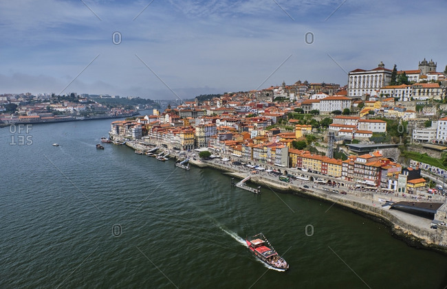 December 12, 2019: Portugal- Porto- Douro river flowing through city seen from above