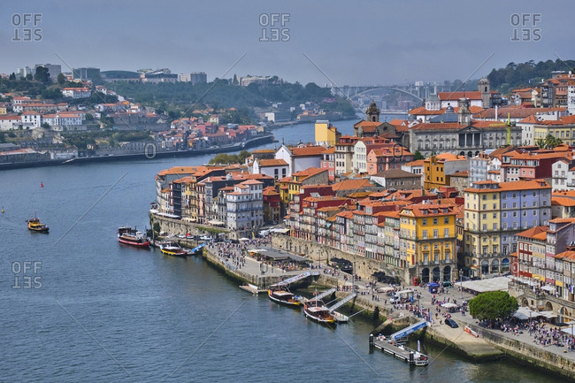 December 12, 2019: Portugal- Porto- High angle view of Douro river and waterfront city