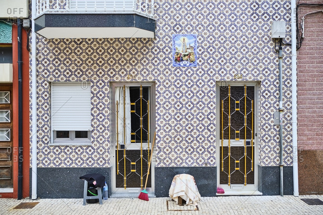 September 18, 2019: Portugal- Porto- Afurada- Unique house facade seen from pavement