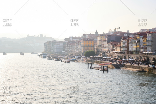 September 18, 2019: Portugal- Porto- Waterfront city seen from Douro river