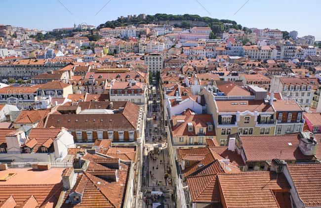 September 4, 2019: Portugal- Lisbon- cityscape with Baixa