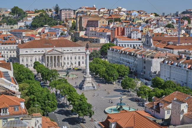 September 4, 2019: Portugal- Lisbon- cityscape with Baixa and Rossio