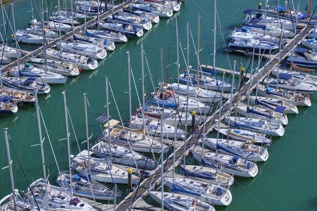 September 5, 2019: Portugal- Lisbon- Tejo- Belem- sailboats moored in marina