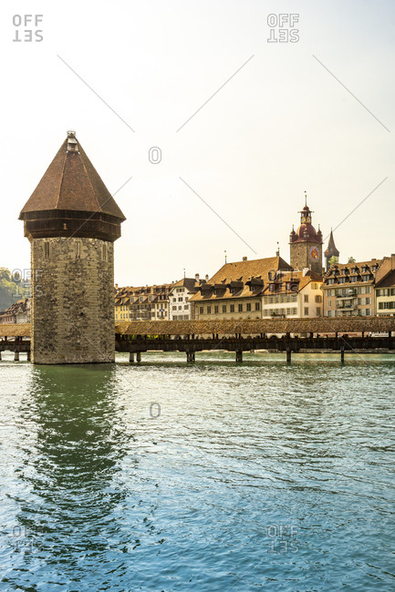 November 26, 2019: Chapel Bridge over Reuss river against clear sky in Lucerne- Switzerland