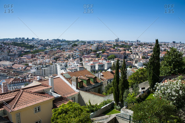 July 24, 2012: View of cityscape from Castelo Sao Jorge in Lisbon- Portugal