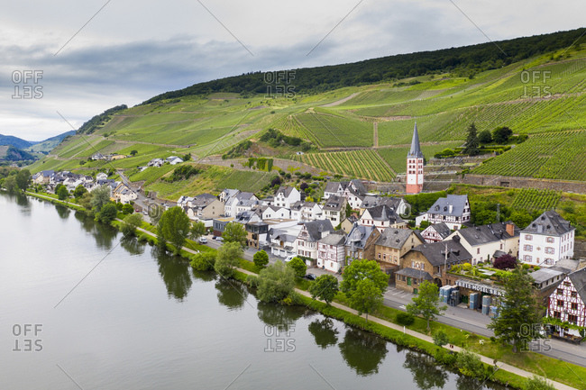 June 11, 2019: Aerial view of Zell town by Mosel River against sky- Germany