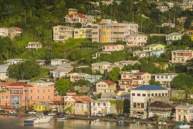 January 2, 2015: View of St. George's town by sea- Grenada- Caribbean