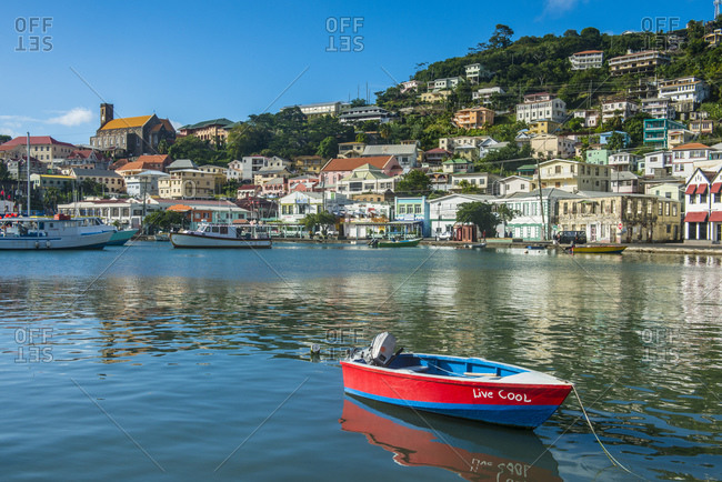 January 3, 2015: Motorboat in harbor of St Georges- Caribbean