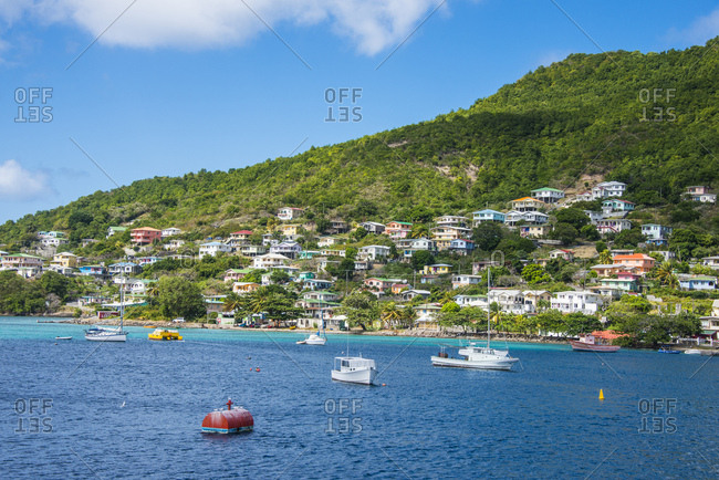 December 30, 2014: Sailboats anchoring in Port Elizabeth- Admiralty Bay- Bequia- St. Vincent and the Grenadines- Caribbean