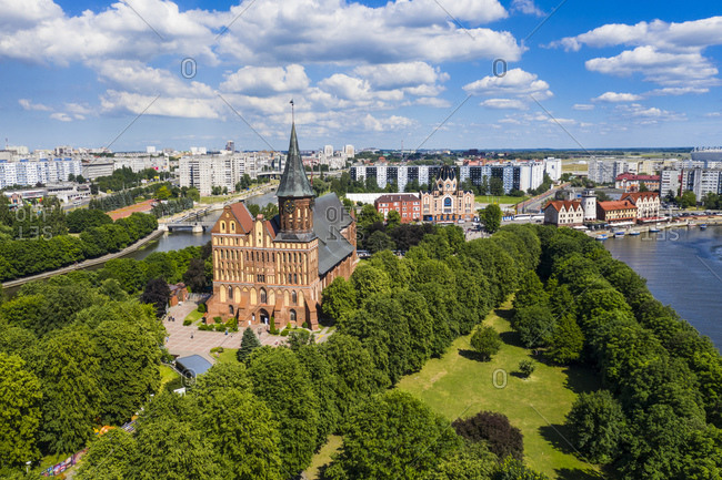 June 18, 2019: High angle view of Kant's Cathedral- Kant island- Kaliningrad- Russia