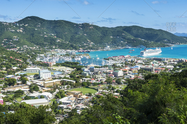 January 5, 2017: High angle view of Road town against blue sky- Tortola- British Virgin Islands