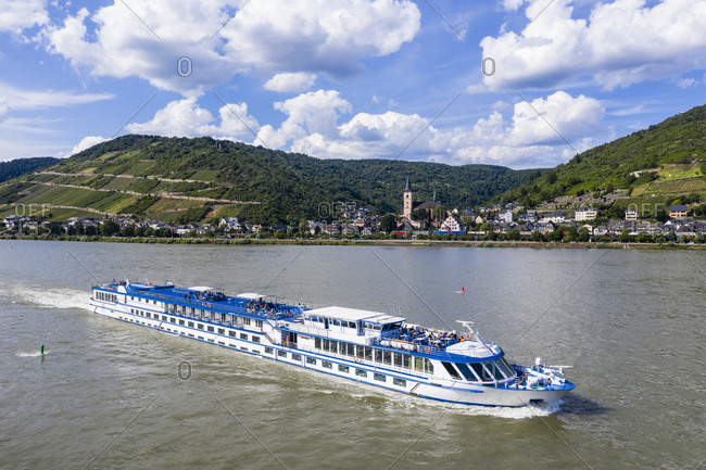 June 15, 2019: Drone shot of cruise ship on Rhine river against cloudy sky at Boppard- Germany