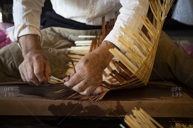 Japan- Takayama- Craftsman making baskets in workshop