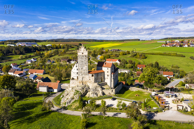 Germany- Baden-Wurttemberg- Dischingen- Katzenstein Castle and surrounding village houses