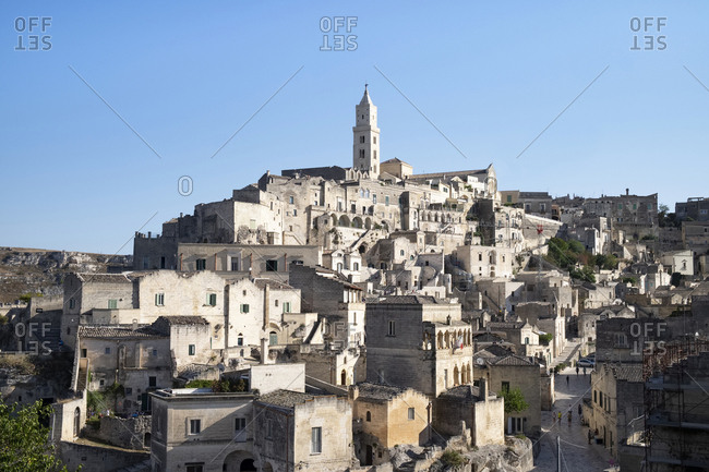 Italy- Basilicata- Matera-View of old town with cathedral