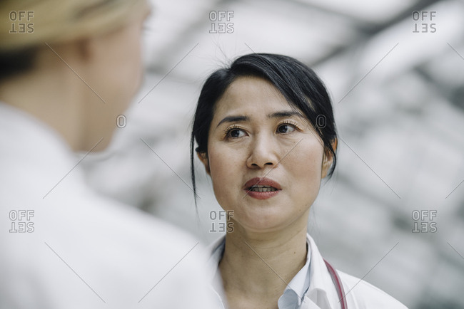 Portrait of female doctor talking to a colleague